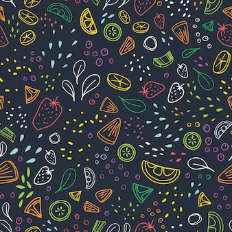 Modern seamless pattern with pieces of delicious vegetables, tropical fruits and berries drawn with colorful outlines
