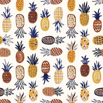 Современный бесшовный образец с ананасами различной текстуры