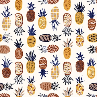 Modern seamless pattern with pineapples of various texture