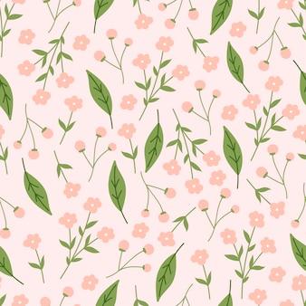 ピンクの花と緑の葉とモダンなシームレスパターン