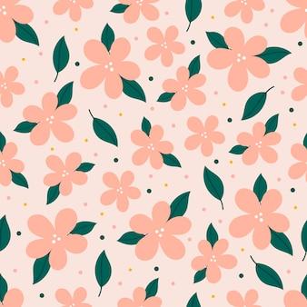 ピンクの花とモダンなシームレスパターン