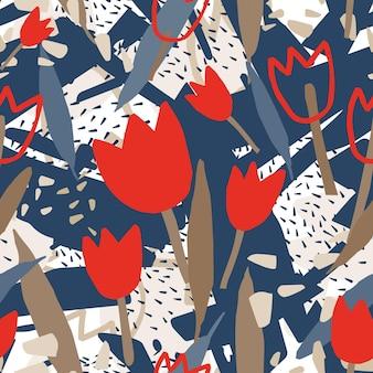 ラフな抽象的な形と咲くチューリップの花とモダンなシームレスパターン