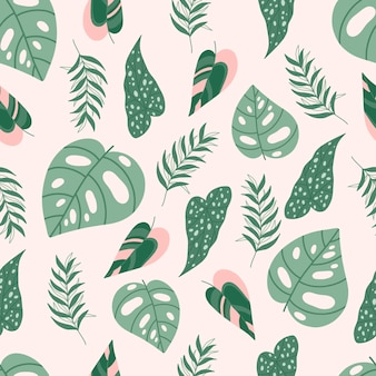 Modern seamless pattern with tropical leaves