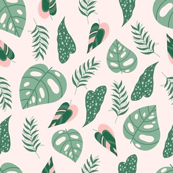 Современный бесшовный образец с тропическими листьями