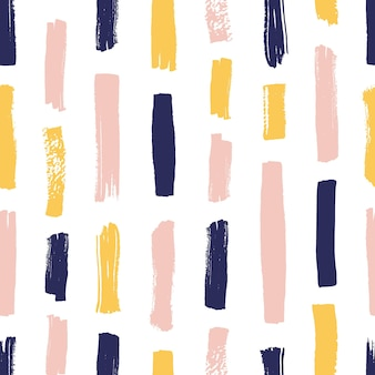 Modern seamless pattern with yellow, pink, blue brush strokes on white background