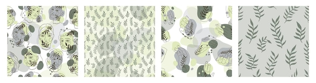 Modern seamless pattern women face and leaves