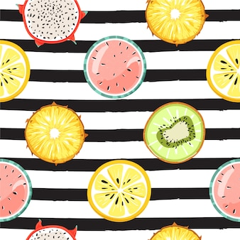 Modern seamless tropical pattern with fruits. fashion striped background.