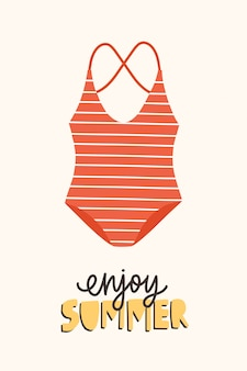 Modern seasonal composition with enjoy summer phrase handwritten with elegant calligraphic font and swimsuit or swimwear.