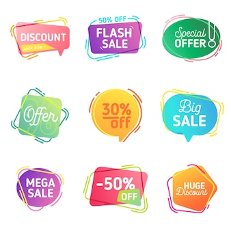 Modern set of abstract sale banners. vector template dynamic bubbles of flash special offer, discount for web design, brochure, print, flyer