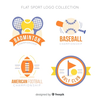 Modern set of abstract sports logos