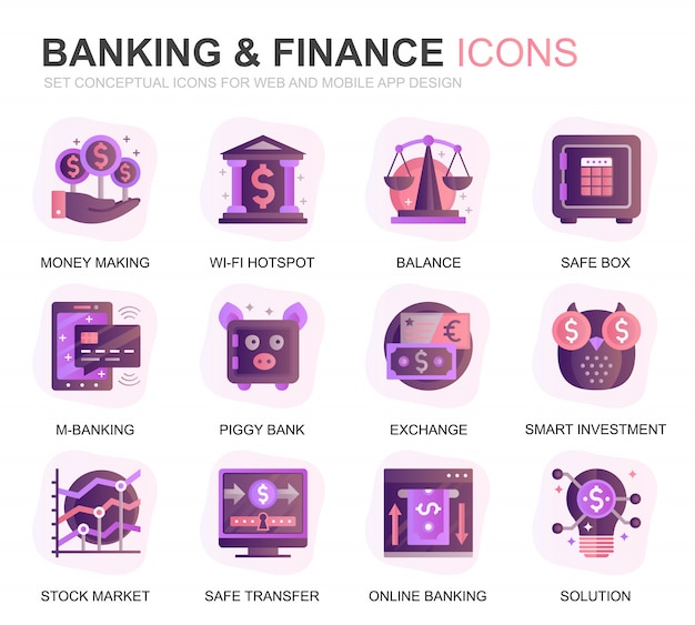 Modern set banking and finance gradient flat icons