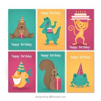 Moderno insieme di carte di compleanno con gli animali
