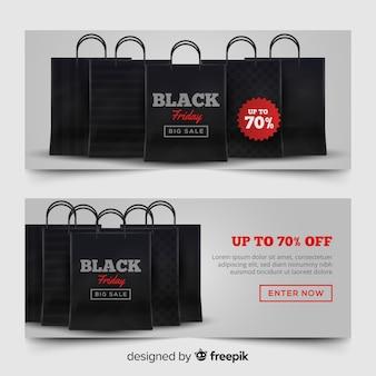 Set moderno di banner di venerdì nero con un design realistico Vettore gratuito