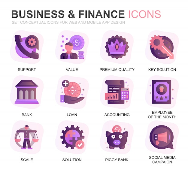 Modern set business and finance gradient flat icons