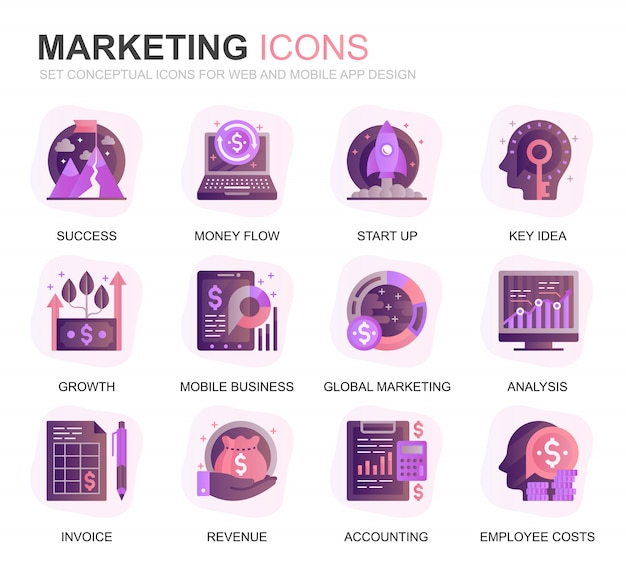 Modern set business and marketing gradient flat icons