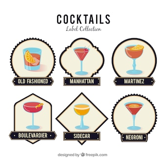 Set moderno di distintivi per cocktail