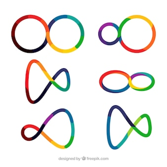 Modern set of colorful infinity symbols