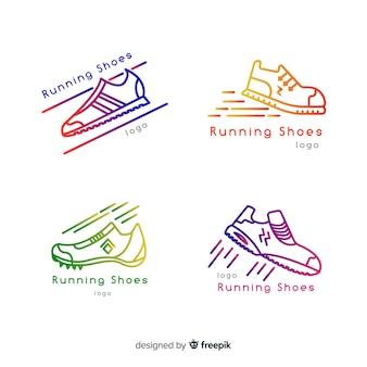 Modern set of colorful shoe logos