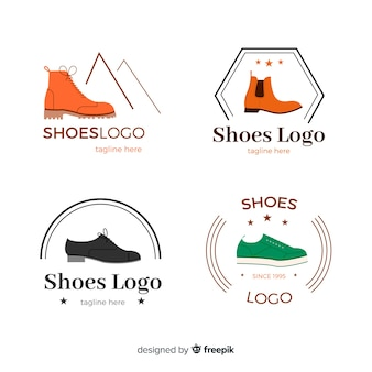 Modern set of colorful shoe logos