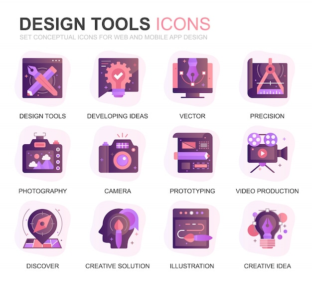 Modern set design tools gradient flat icons