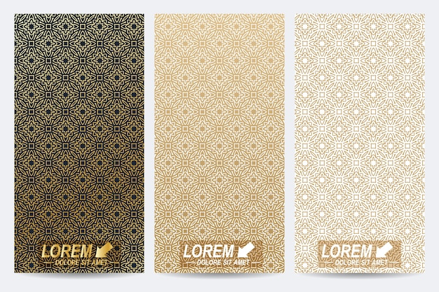 Modern set of flyers whit arabian style pattern background.