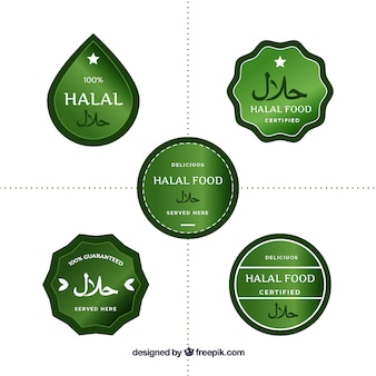 Modern set of halal food labels with flat design