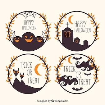 Modern set of halloween circular frames