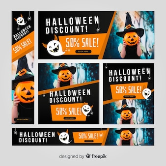 Modern set of halloween web sale banners