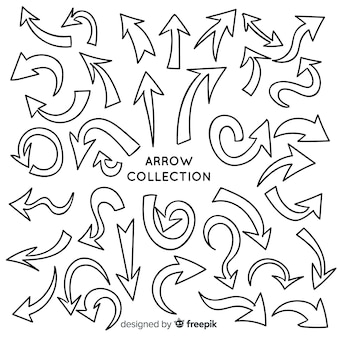 Set moderno di frecce disegnate a mano
