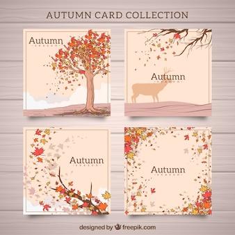 Moderno insieme di carte di autunno disegnate a mano