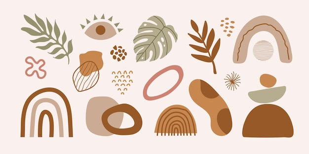 Modern set of hand drawn various shapes tropical elements and doodle objects