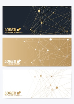 Modern set of horizontal cards. geometric golden presentation. template for banner, business card, greeting card. lines plexus. card surface. minimalistic chaotic design.