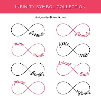 Modern set of infinity symbols with words