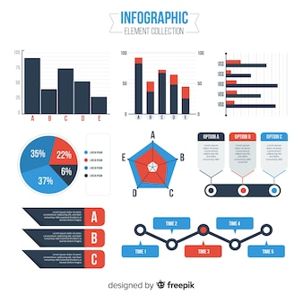 Modern set of infographics elements with flat design