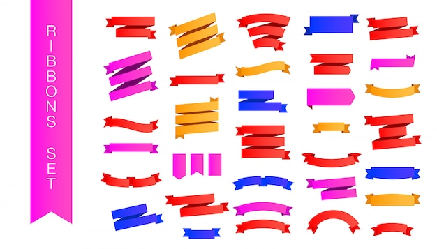 Modern set of multicolored gradient pink, red and yellow ribbons with various shapes and shadows isolated