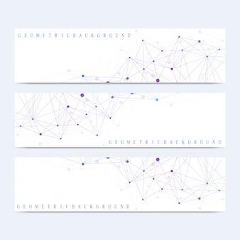 Современный набор баннеров. геометрическая абстрактная презентация. молекула днк и коммуникации фон для медицины, науки, техники, химии. кибернетические точки. линии сплетения.