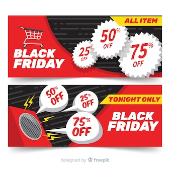 Modern set of black friday banners with flat design