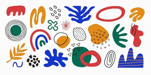 明るい手描きのさまざまな形の植物熱帯要素と落書きオブジェクトのモダンなセット
