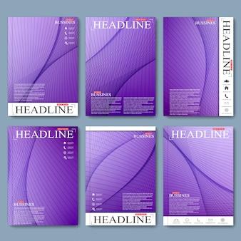 디자인을위한 a4 크기의 브로셔, 전단지, 소책자, 표지 또는 연례 보고서의 현대 세트. 삽화
