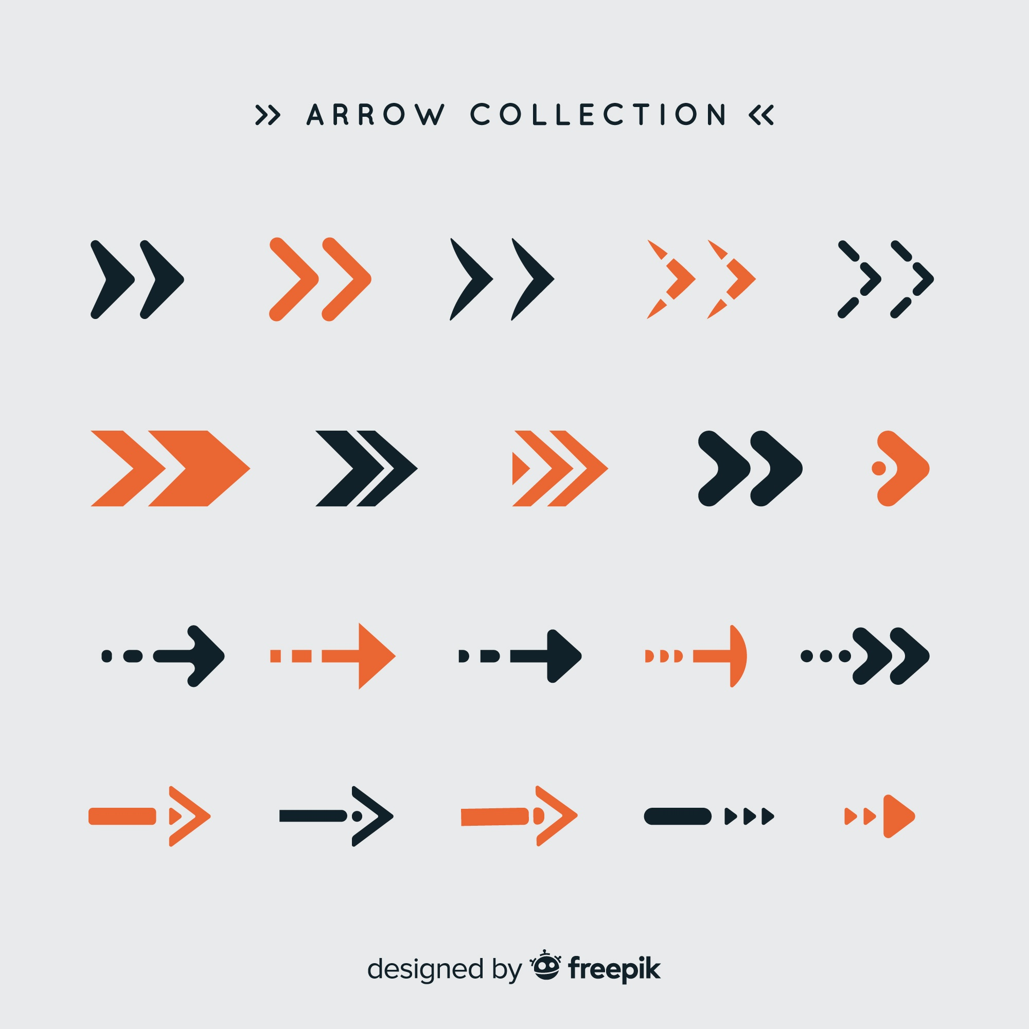 Modern set of colorful arrows with flat design