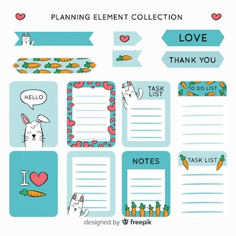 Modern set of colorful planning elements