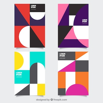 Modern set of cover templates with geometric design