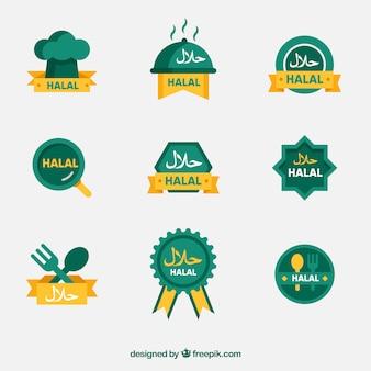 Современный набор халяльных пищевых этикеток с плоским дизайном