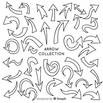 Modern set of hand drawn arrows
