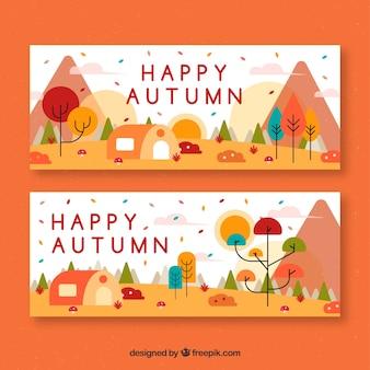 素敵な秋のバナーのモダンなセット
