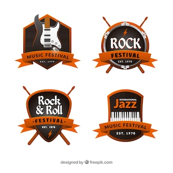 Modern set of music badges