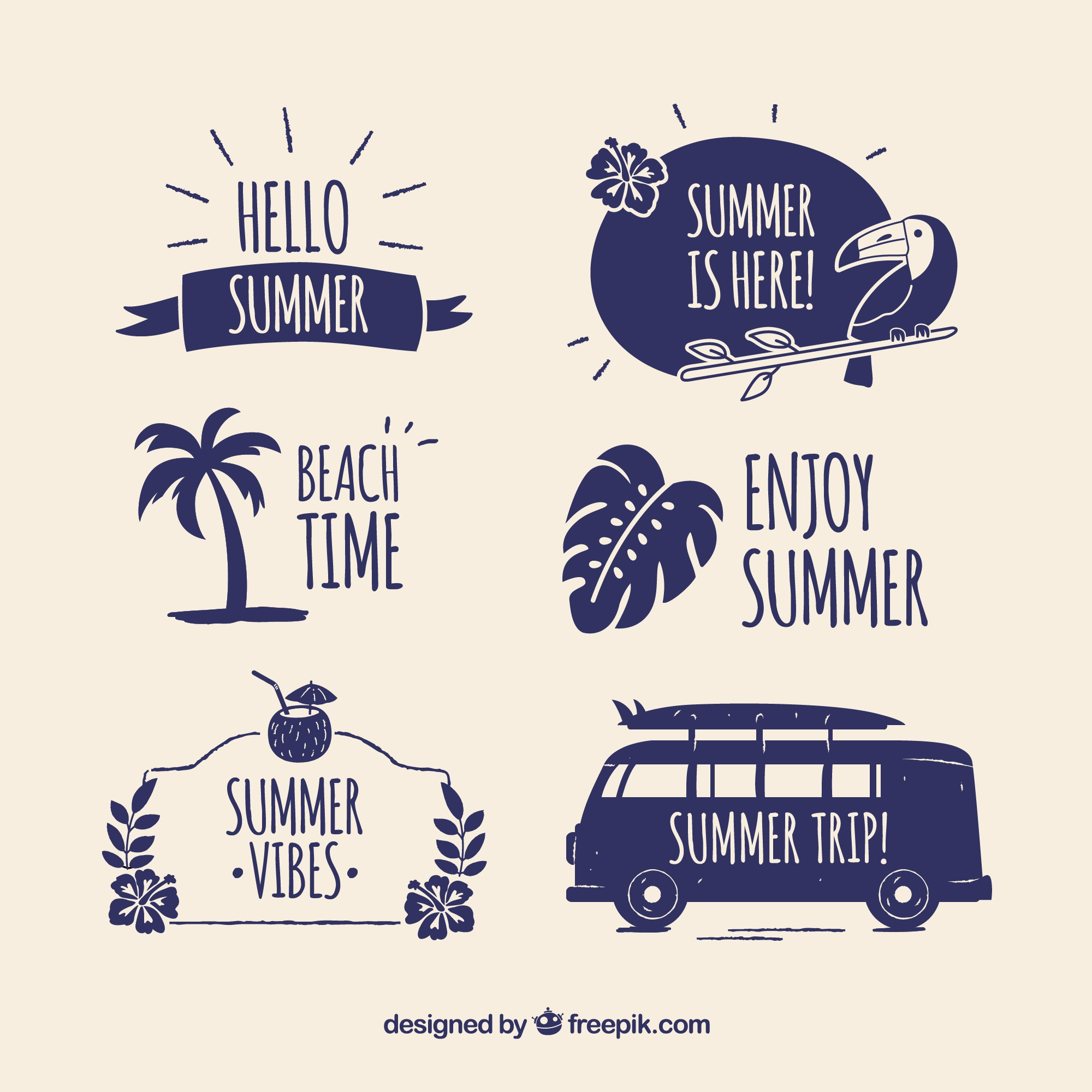 Modern set of summer badges