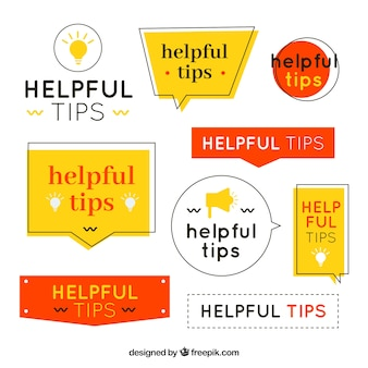 Modern set of tips labels with flat design