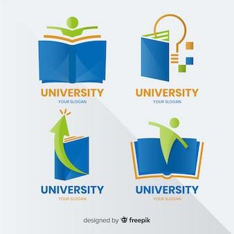 Modern set of university logos with flat design