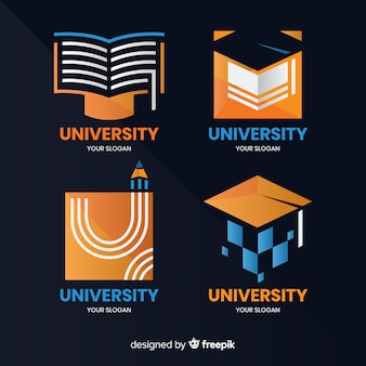 Modern set of university logos with flat design